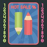 Pencil flat design icon. Vector hot sale label.