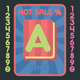 Book flat design icon. Vector hot sale label.