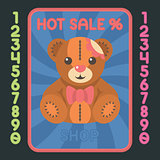 Teddy bear flat design icon. Vector hot sale label.