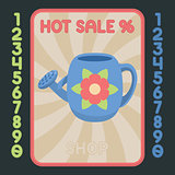 Water can flat design icon. Vector hot sale label.