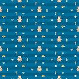 cute blue baby boy seamless pattern