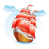 Cartoon images of a sailboat with red sails.