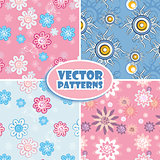 Set of seamless backgrounds pink and blue.