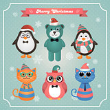 Cute Christmas Fashion Hipster Animals and Pets