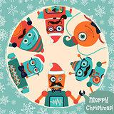 Vector Hipster Retro Robots Christmas Card Illustration