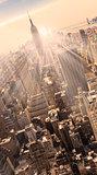 New York City Manhattan skyline in sunset.
