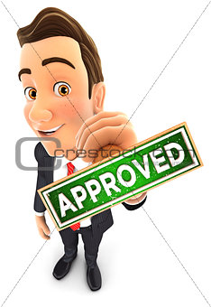 3d businessman approved stamp