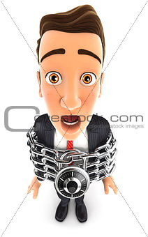 3d businessman chainedv