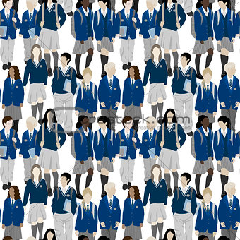 Group of students - vector seamless pattern