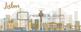 Abstract Lisbon city skyline with brown and blue buildings