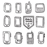 Hand drawn set of mobile gadgets
