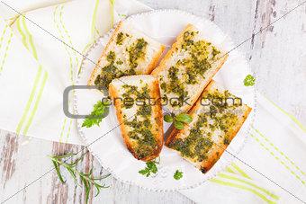 Culinary garlic baguette.