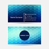 Vector business card template. Blue design.