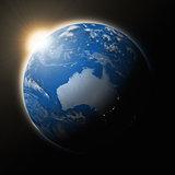 Sun over Australia on planet Earth