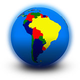 south America on political globe