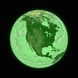 North America on green planet Earth