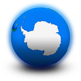 Antarctica on political globe