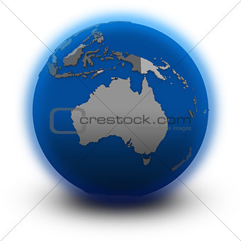 Australia on political globe