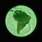 South America on green planet Earth