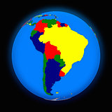 south America on political Earth