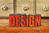 design word in vintage wood type