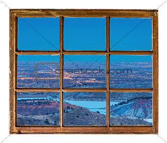 cityscape night window view