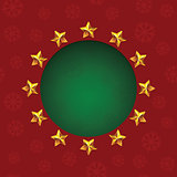 Gold stars around green text hole. VectorChristmas greeting card