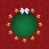 Gold stars around green text hole. White bow. VectorChristmas greeting card