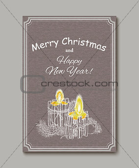 Christmas Candle  in doodle style black on white