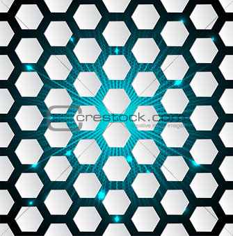 Abstract hexagon background with 3d and bursting effect