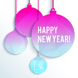 Square New Year design with paper Christmas balls in neon bright colors