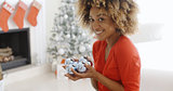 Young woman carrying a handful of Xmas decorations