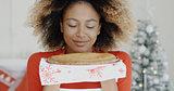 Young woman with a fresh Christmas tart