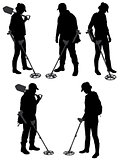 Detectorists silhouette on white background