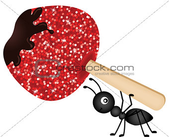 Ant carrying candied apple