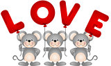 Cute mouses with love balloons