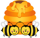 Two cute bees with hive