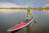 male paddler on stand up paddleboard