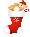 Christmas stocking with sleeping teddy bear