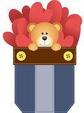 Jean pocket teddy bear and hearts