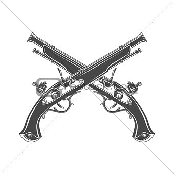 Firelock musket vector. Armoury logo template. Victorian t-shirt design. Steampunk pistol insignia concept.