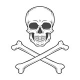 Human evil skull vector. Jolly Roger with crossbones logo template. death t-shirt design. Pirate insignia concept. Poison icon illustration.