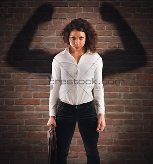 Angry and confident businesswoman