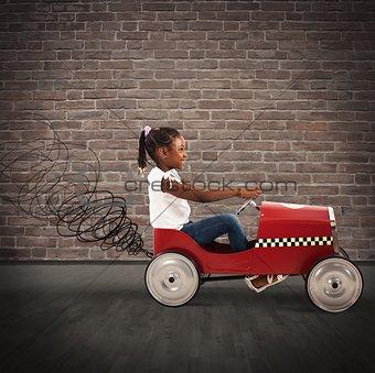 Little girl drive car