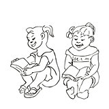 Small Girls sitting and reading a book