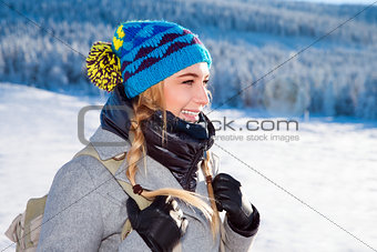 Beautiful girl in the mountains