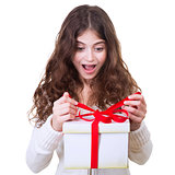 Happy girl receiving gift