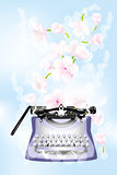 Retro typewriter with cherry blossoms