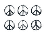 doodle grunge peace sign, vector illustration