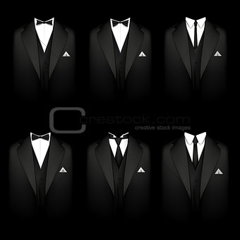 Six black tuxedos